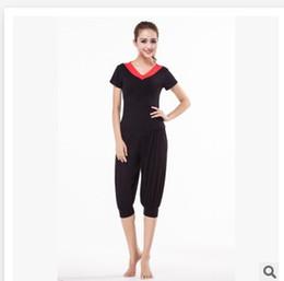 Wholesale Carnival Cuts - Square dance suit fashion pants short sleeved shirt V Latin dance exercise female modal Square Fleck Women dancing clothes