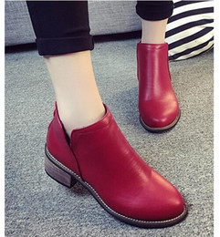 Wholesale Motorcycle Boots Zipper - 2017 autumn and winter women fashion casual non-slip boots black 3 color casual leather rough with velvet side zipper Chelsea short boots bo