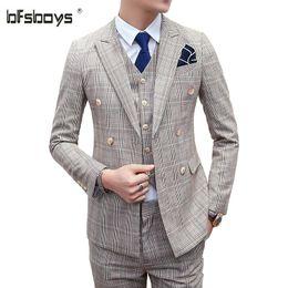 Wholesale Vintage Pants Men Plaid - Wholesale-(jacket + pants + vest)2016 high quality fashion plaid Suit men vintage double breasted men's suit classic groom suit set