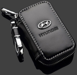 Wholesale Cover For Car Remote - Car Key Case Premium Leather Car Key Chains for Hyundai with Holder Zipper Remote Wallet Bag Hyundai Remote Key Bag key cover accessories