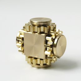 Wholesale Bear Fingers - Gear Fidget Cube Spinner Tri Spin Hand Toy Finger Games Smooth Surface Metal Brass Copper with Stable Bearing EDC Gold