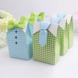 Wholesale Shower Favor Box - 20 pcs My Little Man Blue Green Bow Tie Birthday Boy Baby Shower Favor Candy Treat Bag Wedding Favors Candy Box gift Bags