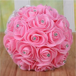 Wholesale High Quality Wedding Bouquet - Low Price Handmade Elegant Bridal Wedding Holding Flowers High Quality Simulation Roses Wedding Supplies Bouquet Free shipping