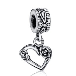 Wholesale Hollow Snake Chain - New Fashion Hollow Heart Flowers Pendant Charm 925 Sterling Silver European Charms Beads Fit Snake Chain Bracelets DIY Jewelry