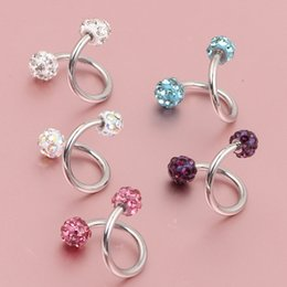 Wholesale Lip Piercing Twisted Wholesale - Crystal Ball S Spiral Twisted Lip Ring Nose Ring Ear Cartilage Tragus Helix Earring 30pcs Piercing Body Piercing Jewelry 16g