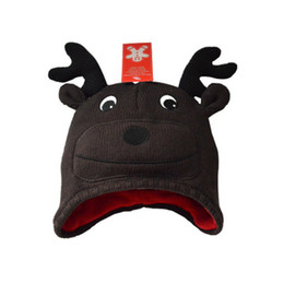 Wholesale Girls Earflap Animal Hats - EarFlap Brown Crochet Hat Baby Kids Wool Weaving Hat cap reindeer Hand-woven Baby Hat Knitting Wool Children Hat Animal prints Hat