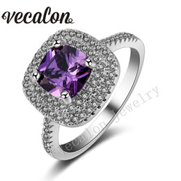 Wholesale Amethyst Ring 11 - Vecalon 2016 Cushion Cut 3ct Amethyst Simulated diamond Cz 925 Sterling Silver Engagement wedding Band ring for women Sz 5-11
