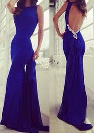Wholesale Embellished Open Back Dress - 2017 New Royal Blue Bow Embellished Mermaid Dress Sex Open Back 2018 High Quality evening dress