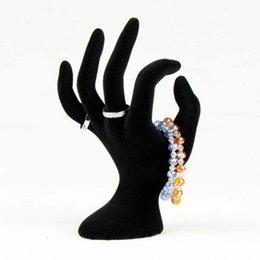 Wholesale Rings Display Black - Black Mannequin Hand Shape Necklace Ring Bracelet Watch Glove Display Stand Holder Jewelry display Free Shipping