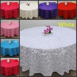 Wholesale Flower Tablecloths - Blush Pink 3D Rose Flowers Table Cloth for Wedding Party Decorations Cake Tablecloth Round Rectangle Table Decor Runner Skirts Carpet Cheap
