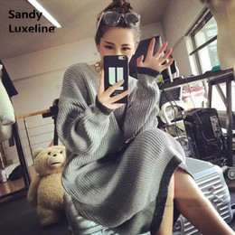 Wholesale Long Knit Sweater Dresses - Wholesale- 2016 New Sexy Women Sweater Long Autumn Dress Pattern Knitted Tops Casual Winter Pullover Oversized Sweater Women Sweaters 065