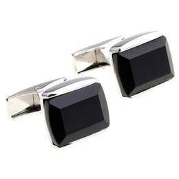 Wholesale Sea Cufflink - agate cufflinks sea shell male men jewelry cuff links for mens cufflink high quality black Square 990026