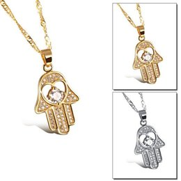 Wholesale Healthy Hands - Fatima Hand Pendant Necklaces Antique Yellow Gold Platinum Plated Women Man Religious Hot Fashion Hamsa Hand Jewelry
