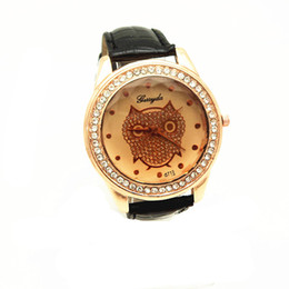 Wholesale Pink Orange Owl - Free shipping!PVC leather band,gold plate alloy round case,crystal deco,owl UP dial,quartz movement,gerryda fashion woman lady leather watch
