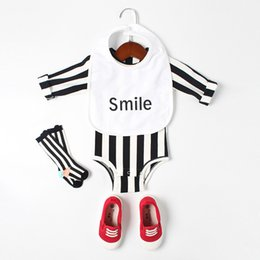 Wholesale Baby Bibs Free Shipping - INS new arrivals baby kids climbing romper Black and white striped long sleeve romper girl boy kids romper with bib clothing 0-2T free ship