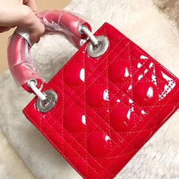 Wholesale Plain Ladies Tops - women famous brand lady bag Cannage handbags patent leather top-handle bags chain shoulder bags ladies luxury crossbody bag high quality