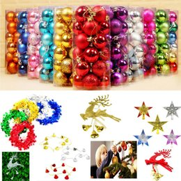 Wholesale Wholesale Christmas Ribbons - 24pcs barrle 4cm Christams Tree Balls Ornaments Bells Reindeer Star Pendant XMAS Ribbons Party Decorations Accessories Gifts WX9-181
