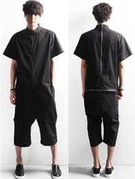 Wholesale Overalls Coveralls - Wholesale-New Men's Punk Back Zip Short Sleeved Casual Jumpsuit Coveralls Overalls Black M-XXL