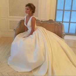 Wholesale Guest Beach Wedding Dresses - Simple Ivory Deep V Neck Wedding Dresses Bridal Gowns A Line Satin Long Beach Wedding Dress Cheap Pleats Wedding Guest Gowns