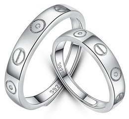 Wholesale Unique Promise Rings - Unique Engagement Rings Lover's 925 Sterling Silver Rings Fashion Style Couples Promise Rings Adjustable Valentine's Gifts for Sweet Lovers