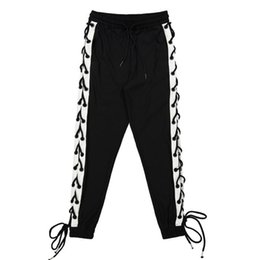 Wholesale Lace Pants Men - Wholesale- Side Lace Up Strings Men Black With White Casual Jogger Pants New 2017 High Street Elastic Waist Joggers Free S