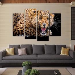 2019 décor d'art mural imprimé léopard Luxry 4 P Jaune Points Léopard Peinture Toile Mur Art Photo Home Decor Salon Impression Sur Toile Moderne Peinture promotion décor d'art mural imprimé léopard