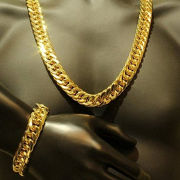 Wholesale Mens Gold Filled Chains - Mens Thick Tight Link 24k Yellow Gold Filled Finish Miami Cuban Link Chain and Bracelet Set 1.0cm wide (24 inches,9 inches)