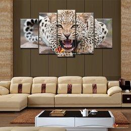 2019 décor d'art mural imprimé léopard 5 Panneau Vente Chaude Abstraite Léopard Moderne Home Decor Peinture Murale Toile Art HD Imprimer Peinture wall art image pour le salon décor d'art mural imprimé léopard pas cher