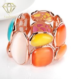 Wholesale Elastic Stone Ring - Fashion Rose Gold Plated with Colorful Opal Stone Elastic Strand Bracelet Bangle for Women Party Jewelry