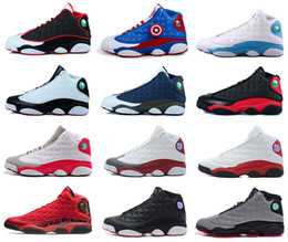 Wholesale Cat Army Green - 2017 air retro 13 DMP Low Chutney Navy blue men basketball shoes black cat playoff Chicago History of Flight Flint He Got Game Sneaker