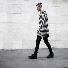 Удлиненные негабаритные футболки онлайн-2017 мужчины футболки tyga хип-хоп Хабар полосатый с длинным рукавом футболка расширенный kanye west мужчины негабаритных футболка homme Майка мужчины