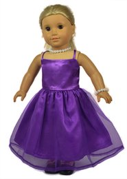 Wholesale Metal Doll Necklaces - Fashion 18 inch american girl doll clothes of many purple and red color dress with a necklace and bracelet