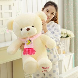 """Wholesale Pink Stuffed Teddy Bears - cute moon cute scarf lovely bear stuffed pp cotton plush toys 45cm 17.7"""" christmas gifts valentines'day gift birthday gifts"""