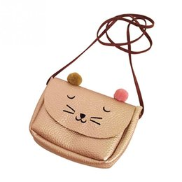 Wholesale Fresh Animals - Cartoon cat mini shoulder messenger bag animal printing handbag PU leather small pouch bolsa feminina for women child kids girls