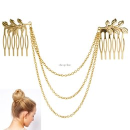 Wholesale Cheap Vintage Hair Accessories - cheap-fine Vintage Hair Accessories Double Gold Chain With Leaf Comb 0Head New Headbands For Women Girl Lady H210930
