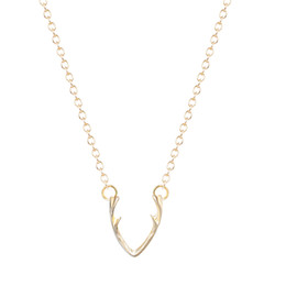 Wholesale Wholesale Brass Chain - 10pcs lot Horn Necklace Antler Necklace Minimalist Jewelry For Women Horn Necklace cc ZA Collier Colar 2016