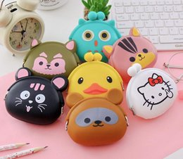 Wholesale Silicone Purse Coin Card Holder - 30pcs Cute Mini key Wallet bag Women Silicone Coin Purse Japanese Candy Color lovely Animals Jelly Silicone Coin bag