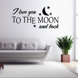 Wholesale Decal Love Moon - I love you to the moon and back Removable Art Decor Decals and Stickers for Home, Living Room Decoration free shipping