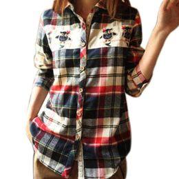 Wholesale Long Sleeve Owl Shirt - 2017 Spring Autumn Plaid Shirt Women Blouses Casual Tops Long Sleeve Lace Owl Printed Cotton Blouses Women European Blusas