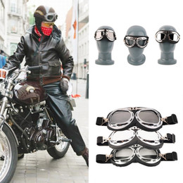 Wholesale helmet motorcycle bikers - Vintage Motorcycle Carting Goggles Glasses Mirror Pilot Biker Helmet Sunglasses Scooter Cruiser Glasses Off-Road Motocross Racing Eyewear