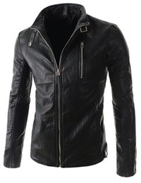 Wholesale Decoration British - Fall-2016 New Men's stand-up collar zipper decoration PU leather jacket men British fashion leather short paragraph jackets