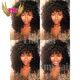 Wholesale Long Curly Real Hair Wigs - Cheap Real Hair Kinky Curly Wigs For Black Women Human Hair Full Lace Wig Quality Curly Wigs Indian Full Lace Front Wigs Sale