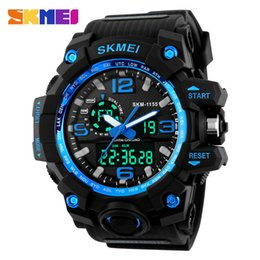 Wholesale Wholesale Watches Skmei - SKMEI Large Dial Shock Outdoor Sports Watches Men Digital LED 50M Waterproof Military Army Watch Alarm Chrono Wristwatches 1155