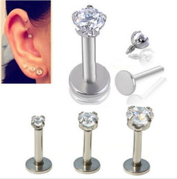 Wholesale Stainless Steel Rings 3mm - 16G 1.2mm 3mm Zircon Stone Internally Threaded Labret Lip Ring Clear Round Cubic Zirconia Prong Tragus Ear Piercing Jewelry