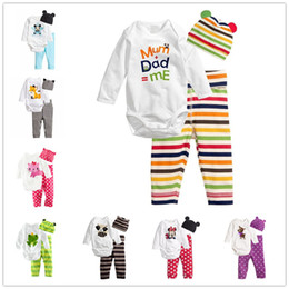 Wholesale Cute Red Black Outfits - 2016 New Kids Animal Outfits Coverall Baby Boy Owl Striped Clothing Set Autumn Infant Girls Cotton Rompers Pants Fall Sleepsuits Hat