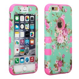 Wholesale Back Cover Iphone Silicone - Defender Hard Back Case For Iphone 6 6S 7 Plus Waterproof Shock Proof Hybrid Plastic & Silicone Cover With Beautiful Flowers 6Colors OPP Bag