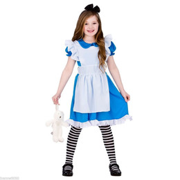 Алиса чудес платье для косплея онлайн-Алиса в Стране Чудес девочки Алиса Принцесса платье Лето хлопок дети Алиса в Стране Чудес Хэллоуин косплей костюм XT