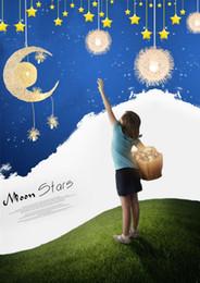 Wholesale Moon Light Chandelier - Modern Aluminium Wire Moon Star Featured Children Bedroom Pendant Chandelier lighting Creative cartoon cute boy girl bedroom