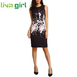 Wholesale evening polka dot formal dress - Wholesale- Summer Work Office Lady Sleeveless Floral Print Bodycon Mini Dresses Women Formal Business Vestido Evening Party Dress Dec29