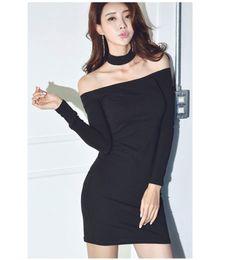 Wholesale Sexy Korean Club Dresses - New design women's sexy korean fashion halter neck off shoulder slash neck long sleeve tunic bodycon short pencil dress XSSMLXLXXL